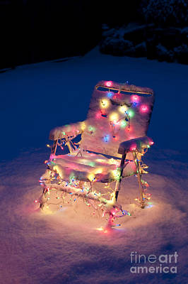 Lawn Chair With Christmas Lights Poster