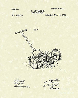 Lawn Mower 1893 Patent Art Poster