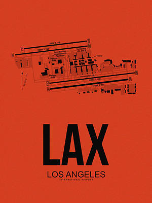 Lax Los Angeles Airport Poster 4 Poster by Naxart Studio