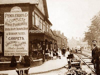 Laying Tram Tracks London Road Warrington England Poster