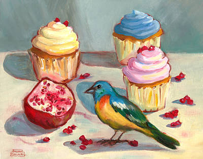 Poster featuring the painting Lazuli Bunting And Pomegranate Cupcakes by Susan Thomas