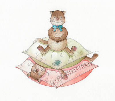 Lazy Cats02 Poster by Kestutis Kasparavicius