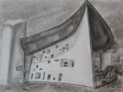 Poster featuring the drawing Le Corbusier by Thomasina Durkay