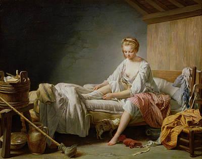Le Lever De Fanchon Oil On Canvas Poster by Nicolas-Bernard Lepicie
