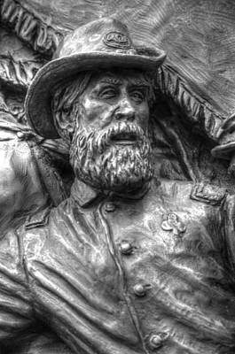 Lead From The Front.  State Of Delaware Monument Detail-n Gettysburg Autumn Mid-day. Poster by Michael Mazaika