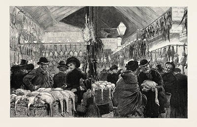 Leadenhall Market At Christmas Eve Engraving 1884 Poster