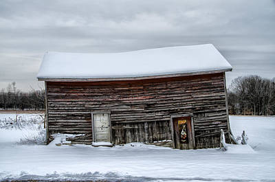 Leaning Barn In The Snow - Pocono Mountains Poster by Bill Cannon