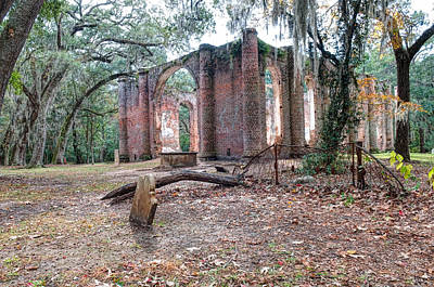Leaning Tomb - Old Sheldon Church Ruins Poster