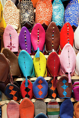 Leather Slippers For Sale In The Souk Poster by Peter Adams