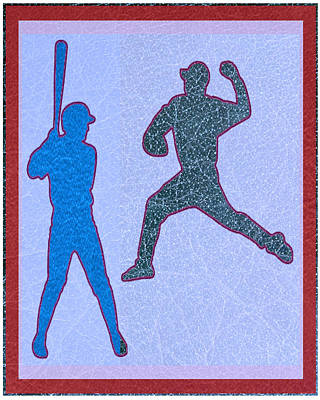 Leather Texture Art Bowler And Pitcher Base Ball Game Sports Competition Poster