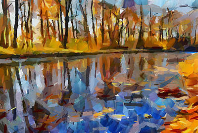 Leaves On The River Poster by Yury Malkov