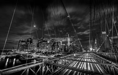 Leaving New York City Via The Brooklyn Bridge Black And White Poster by David Morefield