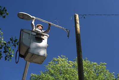 Led Street Light Installation Poster