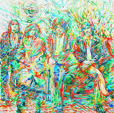 Led Zeppelin - Watercolor Portrait.1 Poster by Fabrizio Cassetta