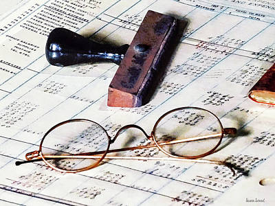 Ledger With Eyeglasses And Rubber Stamp Poster by Susan Savad