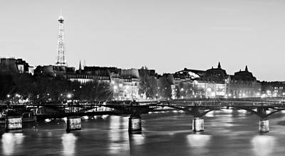 Poster featuring the photograph Left Bank At Night / Paris by Barry O Carroll