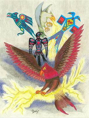 Legend Of The Thunderbird Poster by Lew Davis