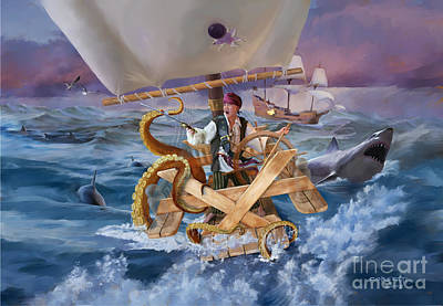 Poster featuring the painting Legendary Pirate by Rob Corsetti
