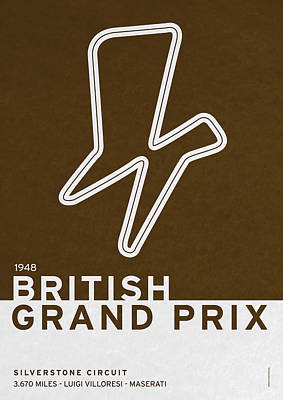Legendary Races - 1948 British Grand Prix Poster by Chungkong Art