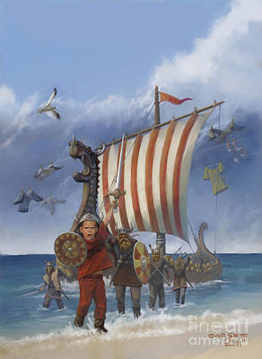 Poster featuring the painting Legendary Viking by Rob Corsetti
