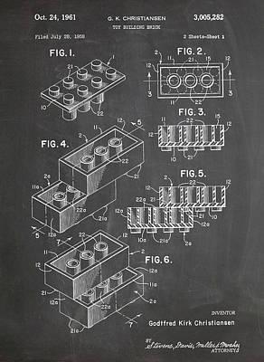 Lego Blocks Patent Art Chalkboard Poster by Stephen Chambers