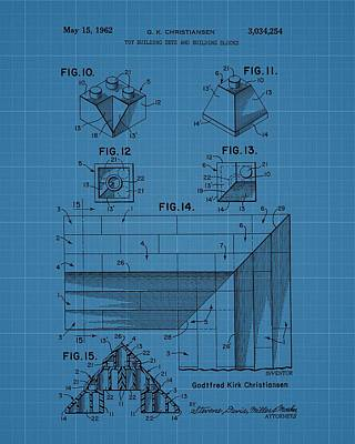 Lego Blocks Patent Drawing Poster