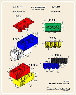Lego Building Brick Patent - Colour Poster