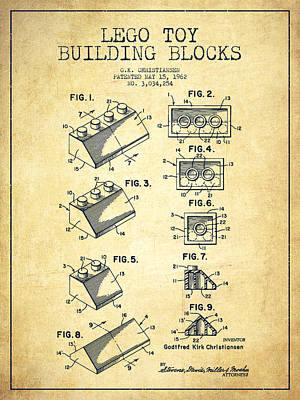 Lego Toy Building Blocks Patent - Vintage Poster by Aged Pixel