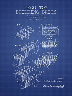 Lego Toy Building Brick Patent From 1961 - Blueprint Poster by Aged Pixel