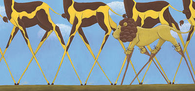 Whimsical Giraffe Painting  Poster by Christy Beckwith
