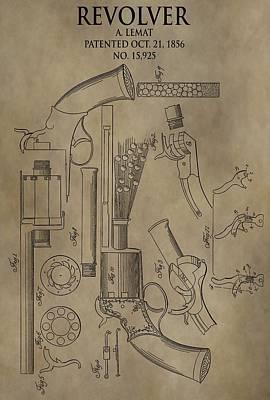 Lemat Revolver Patent Poster