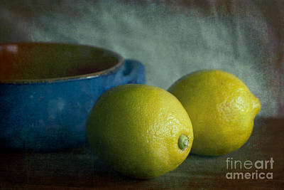 Lemons And Blue Terracotta Pot Poster