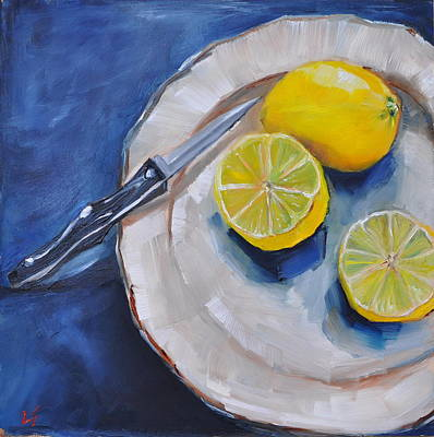 Poster featuring the painting Lemons On A Plate by Lindsay Frost