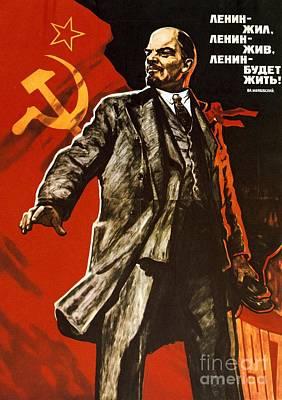 Lenin Lived Lenin Lives Long Live Lenin Poster by Viktor Semenovich Ivanov