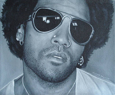 Poster featuring the painting Lenny Kravitz II by David Dunne