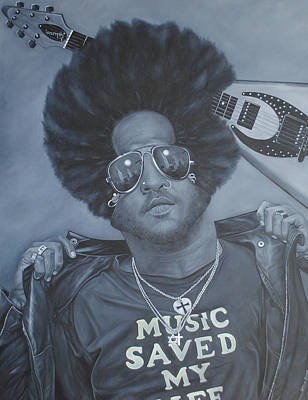 Poster featuring the painting Lenny Kravitz 'mr Cool' by David Dunne