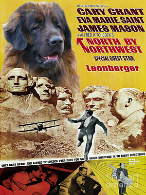 Leonberger Art Canvas Print - North By Northwest Movie Poster Poster by Sandra Sij