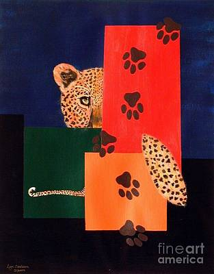 Leopard And Paws Poster by Lynda Cookson