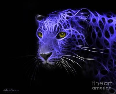 Leopard Fractal Blue Poster by Bruno Santoro