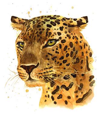 Leopard Gaze Poster by Alison Fennell