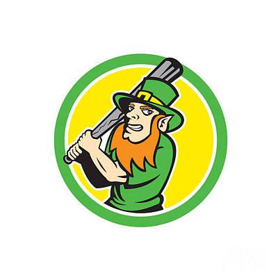 Leprechaun Baseball Hitter Batting Circle Retro Poster