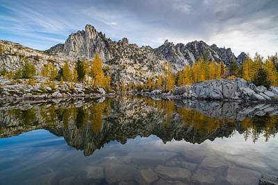 Leprechaun Lake Larches And Prusik Peak Poster by Mike Reid