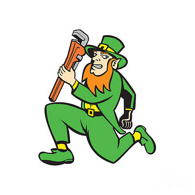 Leprechaun Plumber Wrench Running Retro Poster