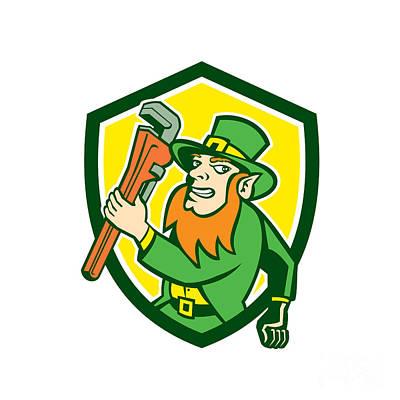 Leprechaun Plumber Wrench Running Shield Poster