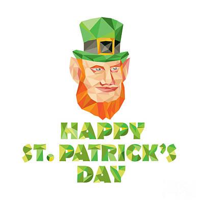 Leprechaun St Patrick's Day Low Polygon Poster