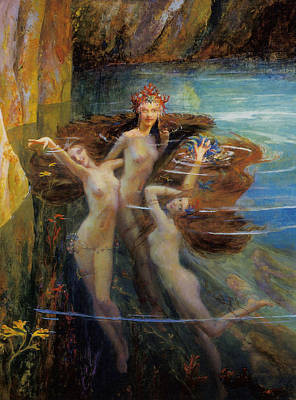 Les Nereides Poster by Gaston Bussiere