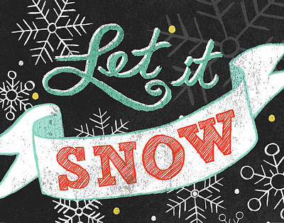 Let It Snow Black Poster by Mary Urban