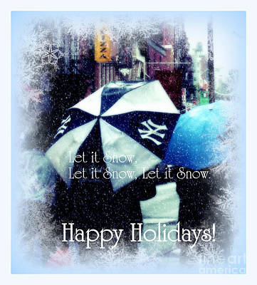 Let It Snow - Happy Holidays - Ny Yankees Holiday Cards Poster by Miriam Danar