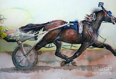 Racehorse Painting In Watercolor Let's Roll Poster by Maria's Watercolor