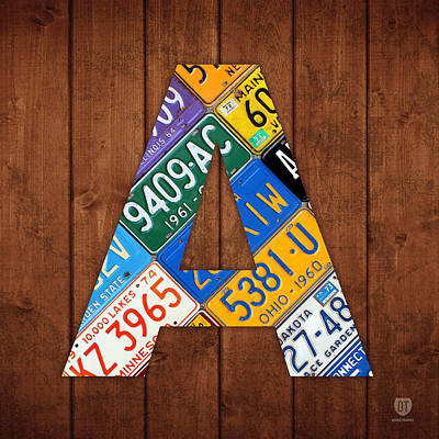 Letter A Alphabet Vintage License Plate Art Poster by Design Turnpike